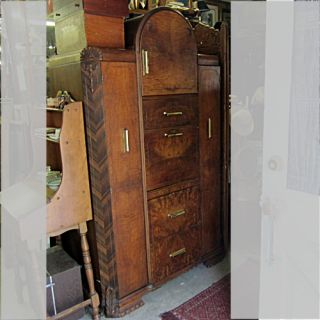 /Antique Art Deco Waterfall Armoire Dressing Cabinet w/Desk & Drawers
