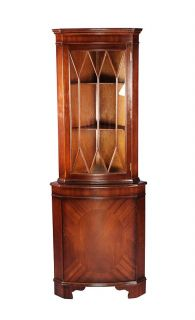 Antique Style Mahogany Bow Front Corner Cabinet Cupboard Hutch
