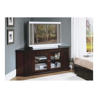 Cappuccino 62 Corner TV Stand Solid Wood Veneer