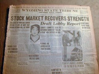 Newspaper Wall Street Stock Market Crash Great Depression