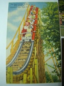 Vtg Antique Postcards ~ Conneaut Lake Park ~ 4 Postcards Blue Streak