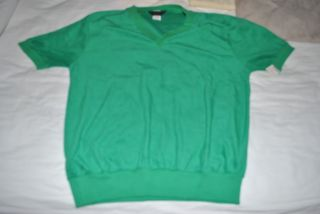 Vtg Mens Terry Cloth V Neck Pull Over Shirt Sports