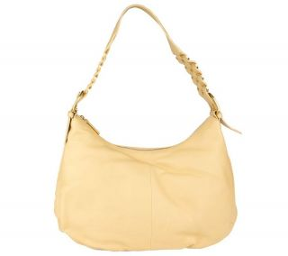 Sondra Roberts Large Leather Hobo Bag with Ring Detail —
