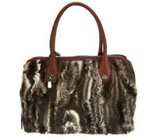 Makowsky Faux Fur Zip Top Satchel with Leather Trim —