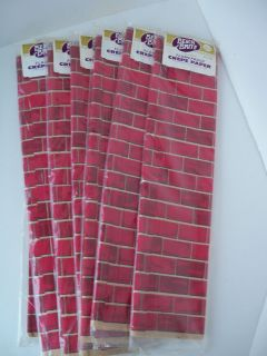 count Vintage Christmas Santa Chimney Red Brick Crepe Paper NEW