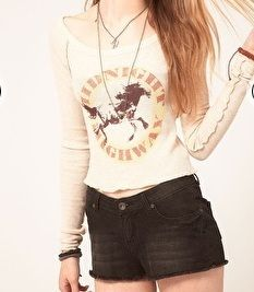 Free People We The Free Thermal Lou Horscope Antique Horse Top Shirt $