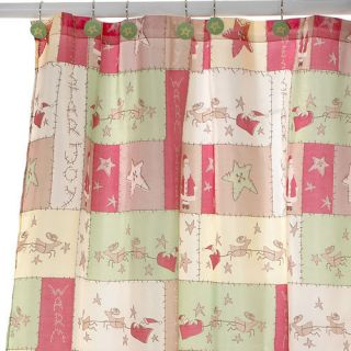 CHRISTMAS THEME SHOWER CURTAIN PLUS 12 HOOK SANTA SLEIGH REINDEER STAR