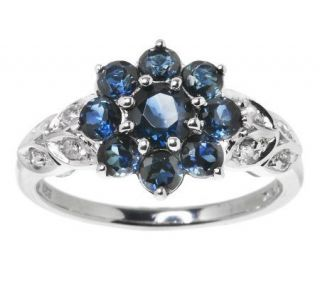 75 ct tw Thai Blue Sapphire and White Zircon Sterling Ring —