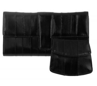 Lee Sands Ladies Eelskin Long Wallet with Small Coin Purse —