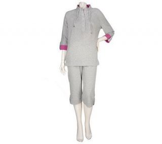 Denim & Co. French Terry Pullover Top & Crop Pant Set w/Button Detail