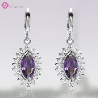 Fashion Lady Jewelry Purple Amethyst White Gold GP Hoop Drop Earrings