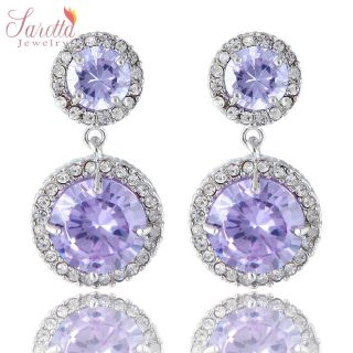 FASHION JEWELRY LADY ROUND CUT PURPLE TANZANITE WHITE GOLD TON STUD
