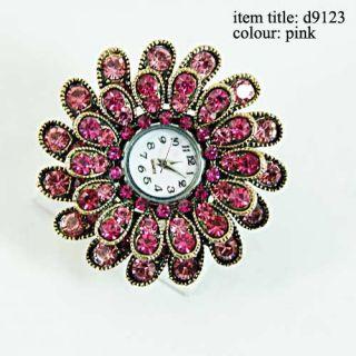 Diamante CZ Adjustable Watch Ring Rings Costume Jewelry
