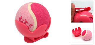 Plastic Base Dog Pet Toy Cricket Baseball Tennis Ball Pink w Clip