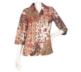 Susan Graver Cotton Lawn Printed Blouse with Tuck Front & 3/4 Sleeves