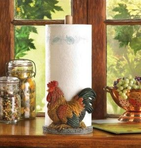 Country Red Rooster Kitchen Countertop Paper Towel Holder Resin Wood