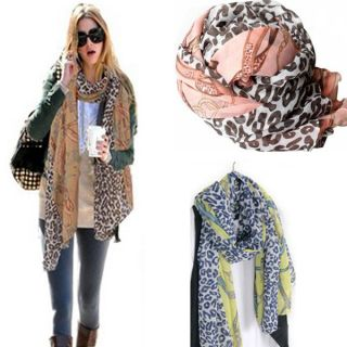 New Womens Cotten Blend Scarf Girls Leopard Chain Print Wrap Shawl
