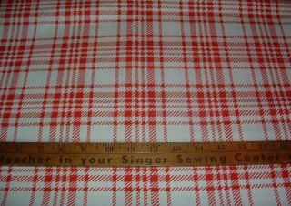 YARDS RED WHITE VINTAGE PLAID PRINT COTTON FABRIC SEWING CRAFT
