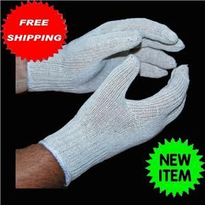 24 1 DOZ Pair Cotton Poly String Knit Gloves Natural White Large