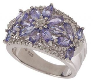 Sterling 1.50 ct tw Tanzanite and Diamond Accent Flower Ring