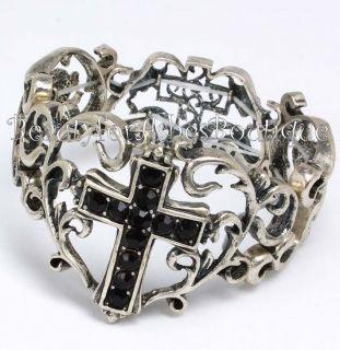 Filigree Ornate Black Crystal Cross Stretch Bracelet