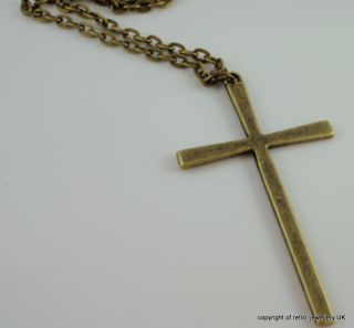 Large Cross Pendant Necklace Vintage Bronze Gold Big Boho Huge Simple