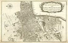 map of city of westminster 1755 by benjamin cole