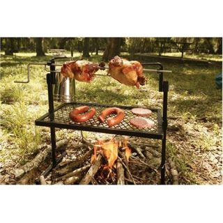 Western Cowboy Style Camping BBQ Fire Rotisserie Cooking Grill