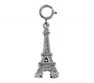 14K White Gold Eiffel Tower Charm —