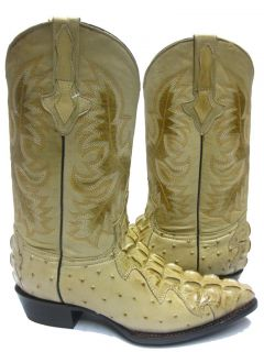 Tan Leather Crocodile Tail Ostrich Quill Cowboy Boots Western
