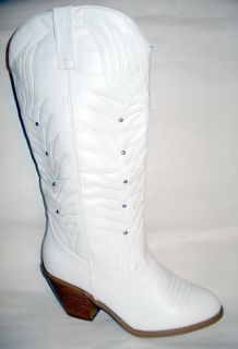 New Women Moda White Distressed Western Cowboy Boot