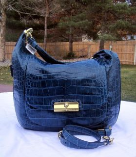 COACH XL CROC EXOTIC LEATHER KRISTEN EXPANDABLE HANDBAG DENIM BLUE #