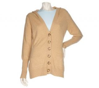 Precious Fibers 2 Ply Cashmere Hooded Cardigan with Pockets —