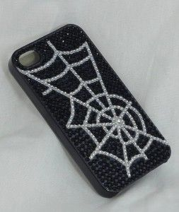 Clear Studded Spider Web iPhone 4G 4S Cell Phone Cover Case