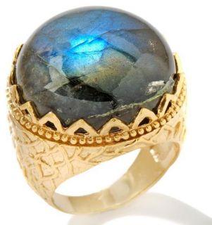 Technibond Genuine Labradorite Royal Crown Ring 14k Yellow Gold Clad