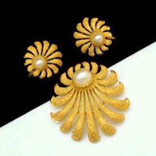 CROWN TRIFARI Vintage Faux Pearls Stardust Shells Brooch Pin Earrings