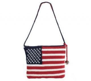 The Sak Crochet Flag Design Shoulder Bag w/Zip Closure —