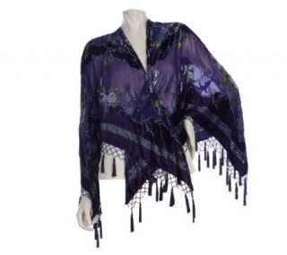 Kirks Folly Royal Passion Devore Beaded Open Poncho —