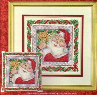 Cross Stitch Christmas Picture Pillow Kit Stocking Stuffing Santa