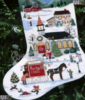 Wysocki Christmas Village Counted Cross Stitch Stocking Kit