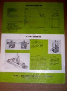 Vtg Covel Mfg Company Catalog Optical Comparator 1956