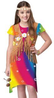 Kids Girls 60s Woodstock Hippie Flower Child Halloween Fancy Dress