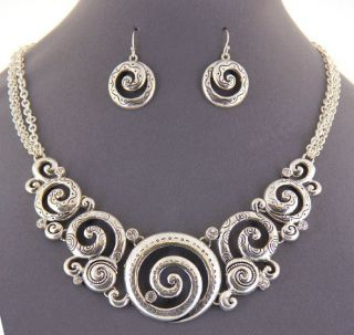 New Brighton Bay Vintage Silver Crystal Swirl Necklace Earring Set