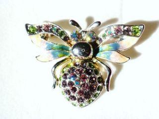 Multi Crystal Bumblebee Bee Antique Silver Brooch Pin