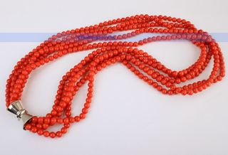 Fashion 19 inch 5 Strands 5mm Red Coral Necklace  CHRISTMAS GIFT