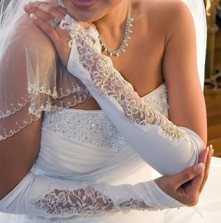 Lace Pearl Fingerless Above Elbow Opera Bridal Gloves