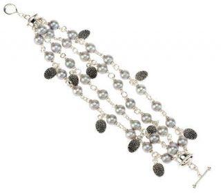 Michael Dawkins Sterling Silver Cultured Pearl Multi Strand 8 Bracelet