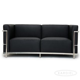 Le Corbusier LC3 Loveseat Black Genuine Leather Chair Ball Barcelona