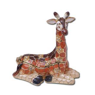 Giraffe Austrian Crystal Jewelry Trinket Box Pewter New