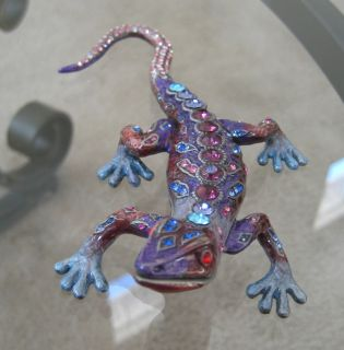 Gecko Lizard Trinket Box made with Swarovski Crystal Rhinestones